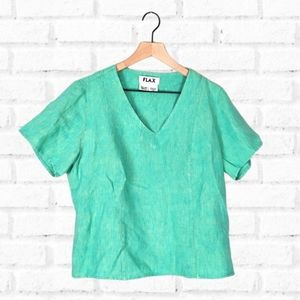 Flax Linen Short Sleeve V Neck Crop